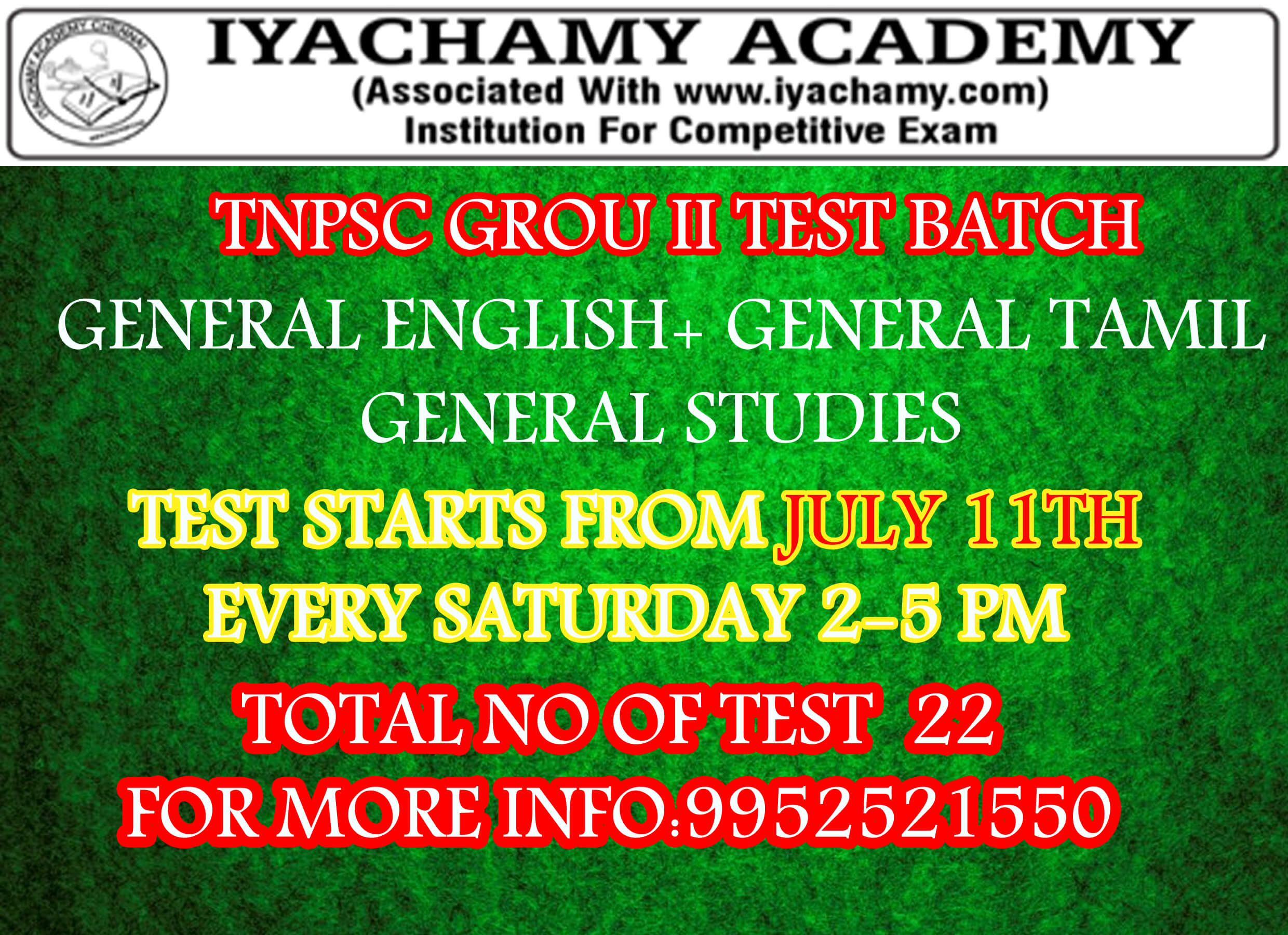 TNPSC GROUP II PRELIMINARY TEST BATCH SCHEDULE|TEST STARTS FROM JULY 14