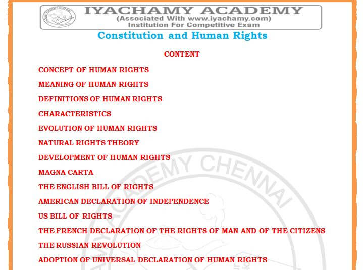HUMAN RIGHT NOTES FOR ASSISTANT JAILOR| IYACHAMY ACADEMY